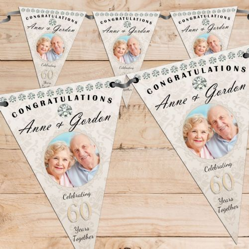 Personalised Diamond 60th Wedding Anniversary Celebration PHOTO Flag Banner - N59